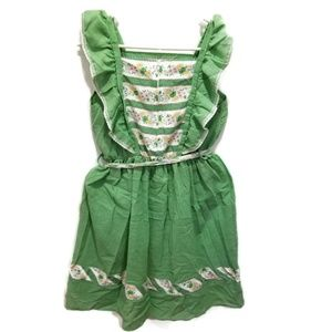 Vintage Girls Ruffle dress green floral lace
